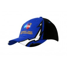 BRUSHED HEAVY COTTON CAP WITH LIGHTNING DESIGN ON CROWN & PEAK AND BACK ARCH TRIM