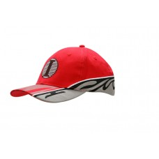 BRUSHED HEAVY COTTON CAP WITH INSERTS/EMBROIDERY ON CROWN/PEAK & PRINT DESIGN ON PEAK