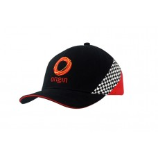 BRUSHED HEAVY COTTON CAP WITH SANDWICH TRIM & PRINTED CHECK INSERT ON CROWN