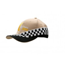BRUSHED HEAVY COTTON CAP WITH SANDWICH TRIM & CHECK EMBROIDERY ON CROWN & PEAK