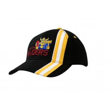 BRUSHED HEAVY COTTON CAP WITH STRIPES & PIPING ON CROWN & PEAK