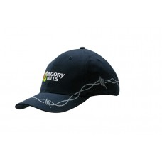 BRUSHED HEAVY COTTON CAP WITH CHAIN EMBROIDERY ON CROWN & PEAK