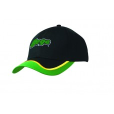 POLY/COTTON CAP WITH FABRIC INSERT & EMBROIDERY ON PEAK