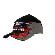 BRUSHED HEAVY COTTON CAP WITH FLAME EMBROIDERY ON CROWN & PEAK