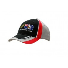 BRUSHED HEAVY COTTON CAP WITH INSERTS/PIPING ON CROWN & INSERTS/EMBROIDERY ON PEAK
