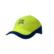 LUMINESCENT SAFETY CAP WITH INSERTS/REFLECTIVE PIPING ON CROWN & PEAK
