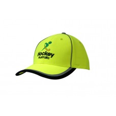 LUMINESCENT SAFETY CAP WITH REFLECTIVE PIPING/STRIPES ON CROWN & PEAK