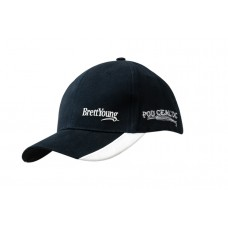 BRUSHED HEAVY COTTON CAP WITH PEAK INDENTS & EMBROIDERY
