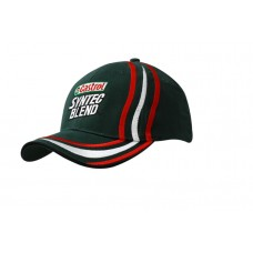 BRUSHED HEAVY COTTON CAP WITH SANDWICH TRIM & EMBROIDERED LINES ON CROWN & PEAK