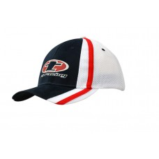 BRUSHED HEAVY COTTON CAP WITH MESH BACK AND FABRIC/MESH STRIPES ON CROWN & PEAK