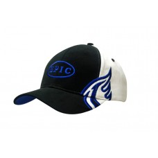 BRUSHED HEAVY COTTON CAP WITH WING EMBROIDERY ON CROWN & PEAK