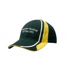 BRUSHED HEAVY COTTON CAP WITH SANDWICH, FABRIC INSERTS/EMBROIDERY ON CROWN & PEAK
