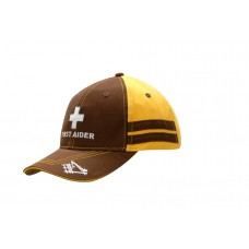 BRUSHED HEAVY COTTON CAP WITH SANDWICH TRIM & STRIPES ON CROWN, CONTRAST STITCHING ON PEAK