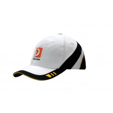 BRUSHED HEAVY COTTON CAP WITH FABRIC INSERTS & EMBROIDERY ON CROWN & PEAK