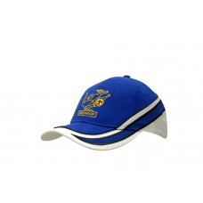 BRUSHED HEAVY COTTON CAP WITH FABRIC TRIMS/EMBROIDERY & PIPING ON CROWN & PEAK