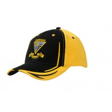 BRUSHED HEAVY COTTON CAP WITH CROWN/PEAK EMBROIDERY & FABRIC INSERTS ON PEAK