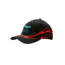 BRUSHED HEAVY COTTON CAP WITH WAVE EMBROIDERY ON CROWN & PEAK