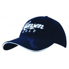 BRUSHED HEAVY COTTON CAP WITH EMBOSSED PU PEAK