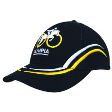 BRUSHED HEAVY COTTON CAP WITH CURVED EMBROIDERY ON CROWN AND PEAK
