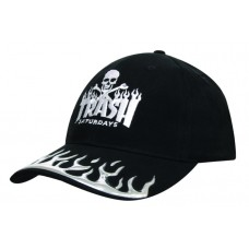 BRUSHED HEAVY COTTON CAP WITH LIQUID METAL FLAME