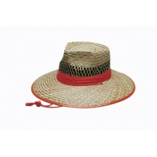 NATURAL STRAW HAT ORANGE TRIM ? S-M-L-XL