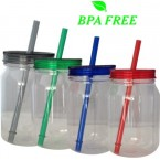 Plastic Bottle With A Matching Straw and Lid