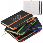 A6 Black PU Notebook With Elastic Closure
