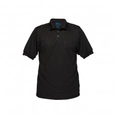 SOLID BLACK SHORT SLEEVE MICRO MESH POLO