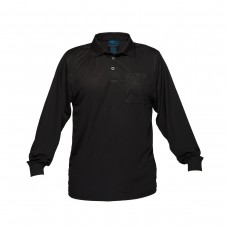 SOLID BLACK LONG SLEEVE MICRO MESH POLO
