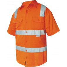 FULL COLOUR REGULAR WEIGHT SHORT SLEEVE SHIRT WITH TAPE OVER SHOULDER.