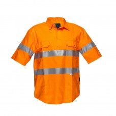 FULL COLOUR REGULAR WEIGHT SHORT SLEEVE CLOSED FRONT SHIRT WITH 3M TAPE