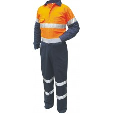 REGULAR WEIGHT 2 TONE COTTON COVERALLS WITH TAPE