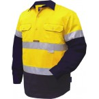 2 TONED REGULAR WEIGHT LONG SLEEVE CLOSED FRONT SHIRT WITH 3M TAPE