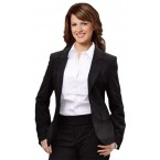 Women's Poly/Viscose Stretch Stripe One Button Cropped Jacket
