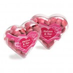 ACRYLIC HEART FILLED WITH  CHOC BEANS 50G (CORPORATE COLOURS)